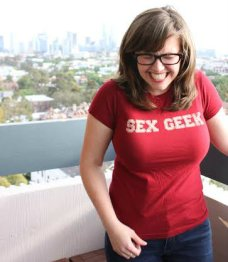 Kate McCombs in Sex Geek T shirt